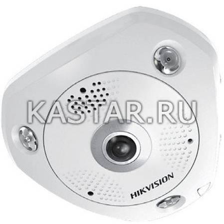 Панорамная вандалостойкая FishEye IP-камера Hikvision DS-2CD6W32FWD-IVS с ИК-подсветкой