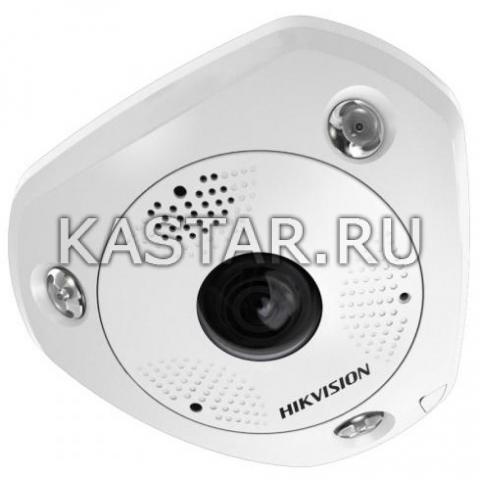 6Мп IP-камера Hikvision DS-2CD6362F-IVS с объективом «рыбий глаз» и ИК-подсветкой